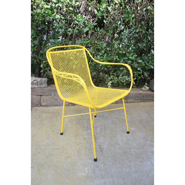 1970s Mid Century Modern Buttercup Yellow Wrought Iron Patio Dining Set- 6 Pieces For Sale - Image 5 of 13