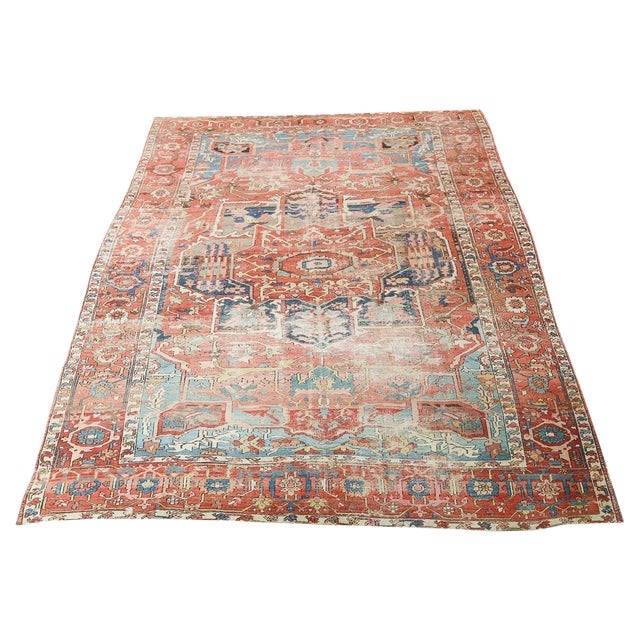 """Antique Distressed Serapi Persian Wool Rug - 12'6""""x8'8"""" For Sale"""