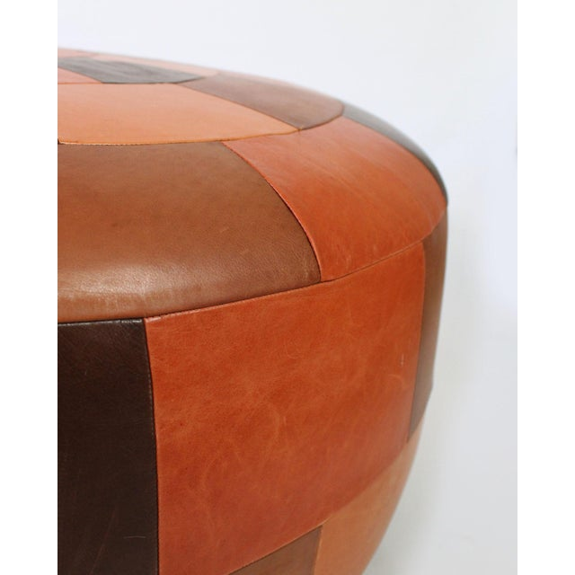 Postmodern Oversized Vintage Patchwork Leather Ottoman For Sale - Image 3 of 6