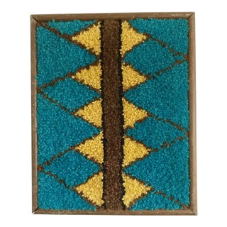 1970's Framed Hook Rug Geometric Wall Textile Art