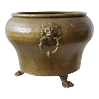 Vintage English Style Mid Century Hand Crafted Hammered Brass Footed Planter With Lion Head Hoop Handles For Sale