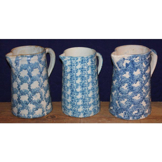 Country 19th Century Sponge Ware Pitchers, Nine Pcs. Collection For Sale - Image 3 of 13