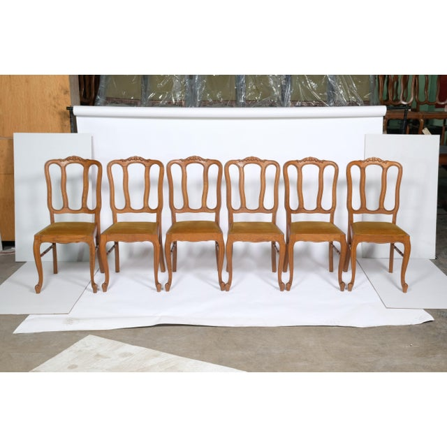 Set of 6 Louis XV Dining Chairs With Gold Upholstery For Sale - Image 12 of 12