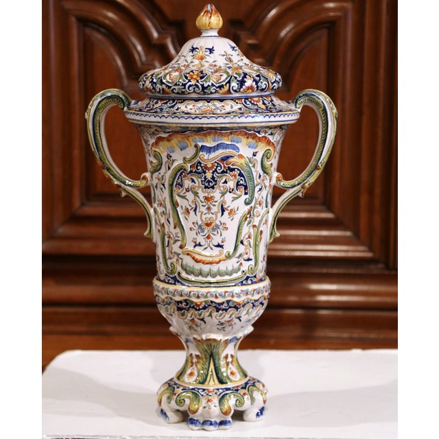 19th Century French Hand Painted Ceramic Vase With Lid From Normandy For Sale - Image 12 of 12