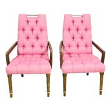 Image of Contemporary Drexel Heritage Pink Tufted Dining Chairs - a Pair For Sale