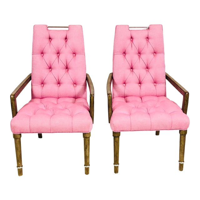Contemporary Drexel Heritage Pink Tufted Dining Chairs - a Pair For Sale
