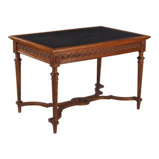 Early 20th Century Louis XVI Style Leather Top Walnut Writing Desk For Sale