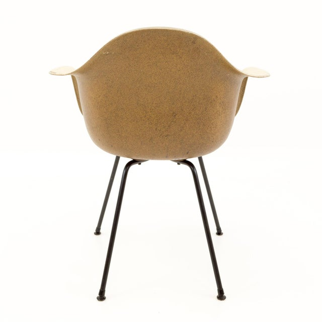 Tan Mid-Century Modern Eames for Herman Miller Molded Plastic X-Base Shell Chairs - a Pair For Sale - Image 8 of 11