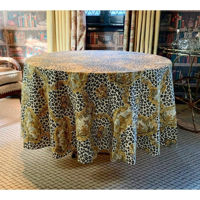 Stunning leopard and chinoiserie table cloth - a handsome statement in style, starting the conversation before the first...