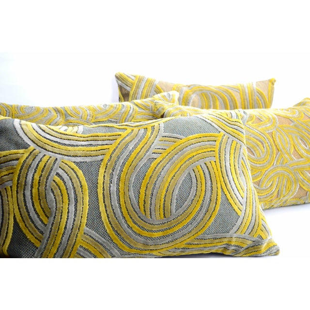 Contemporary FirmaMenta Italian Damask Geometric Green & Yellow Velvet Lumbar Pillow For Sale - Image 3 of 6