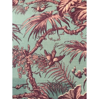 "Quadrille China Seas ""Tropique"" Linen Hand Printed Fabric 2 1/2 Continuous Yards For Sale"