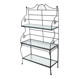Russel Woodard Wrought Iron Scrolls Glass Shelves Bakers Rack For Sale
