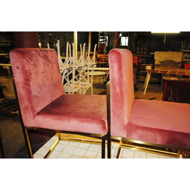 French Hollywood Regency Pink Rose Velvet Brass Dining Chairs- Set of 6 For Sale - Image 3 of 10