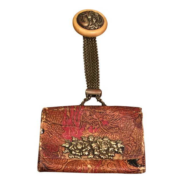 Late 19th Century Elaborate Meiji Period Embossed Leather and Silver Tobacco Pouch For Sale