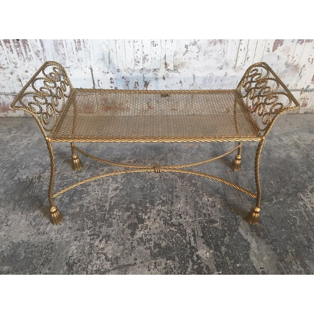 1950s Hollywood Regency Gold Gilt Wrought Iron Tassel Vanity Bench For Sale - Image 5 of 10