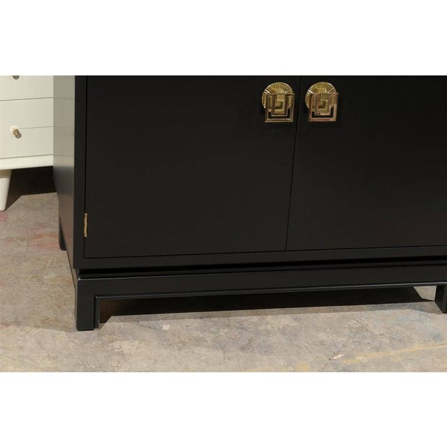 Johnson Furniture Co. Elegant Mahogany Cabinet by Renzo Rutili in Black Lacquer For Sale - Image 4 of 9
