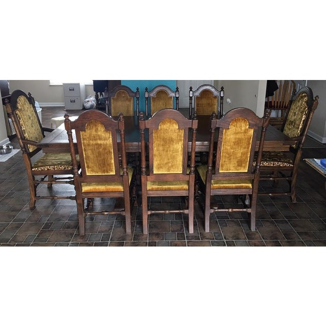 Vintage (1970-71) Ethan Allen Royal Charter Jacobean Oak Dining Room Set For Sale - Image 10 of 10