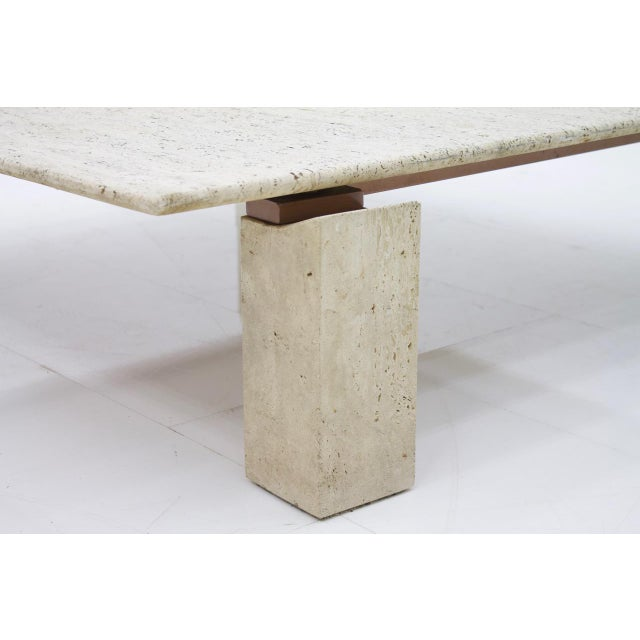 Hollywood Regency Large Travertine Coffee Table 1960s For Sale - Image 3 of 10