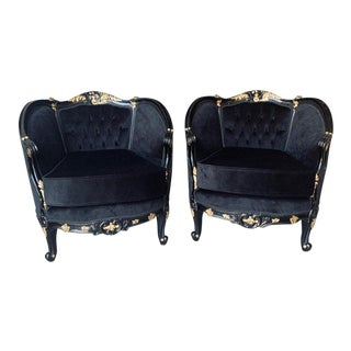 Vintage French Louis XV Style Black Tufted Chairs - a Pair For Sale