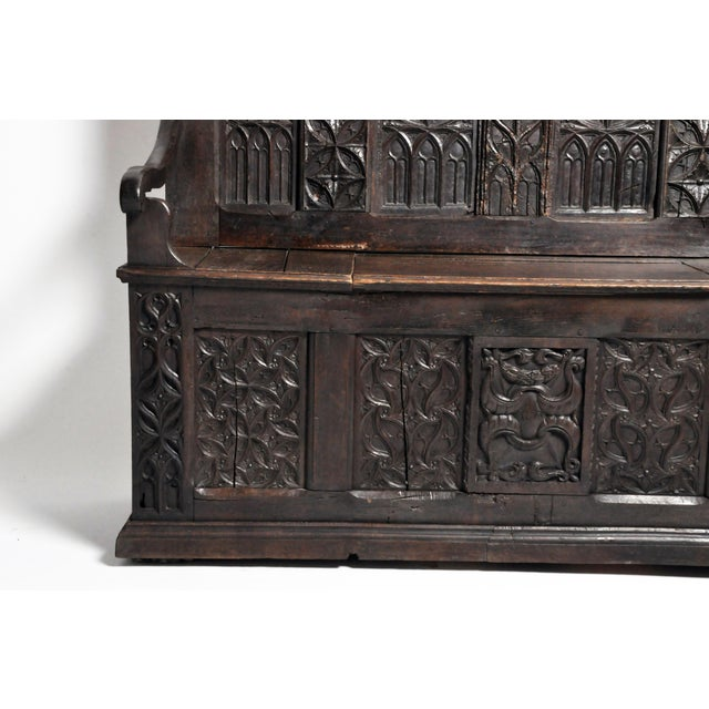 Red 17th Century French Gothic Oak Hall Bench For Sale - Image 8 of 13