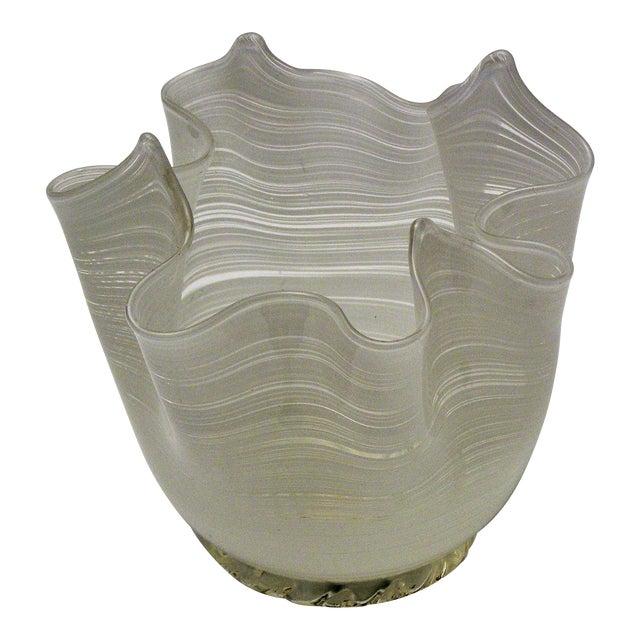 Vintage Aureliano Toso Murano Venetian Handkerchief Glass Vase-1950s Italian Italy Mid Century Modern MCM Millennial For Sale