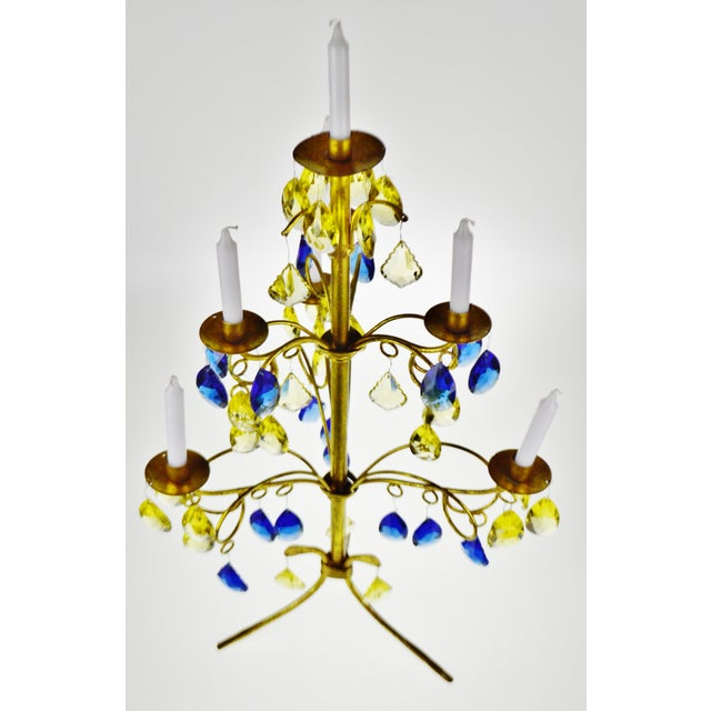 Vintage Italian Tole Gold Gilt Candelabra with Multi - Colored Cut Glass Prisms Condition consistent with age and history....