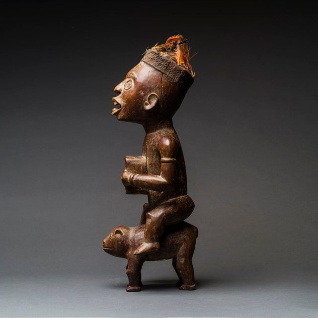 African Kongo Wooden Nkisi Sculpture of a Rider For Sale - Image 3 of 4