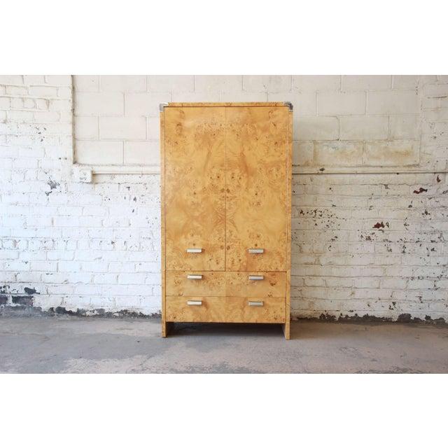 Leon Rosen for Pace Burled Olive Wood and Chrome Wardrobe Dresser - Image 13 of 13