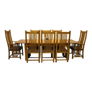 Crafters and Weavers Mission Stow Leaf Table & High Back Chair Dining Set - 9 Pieces For Sale