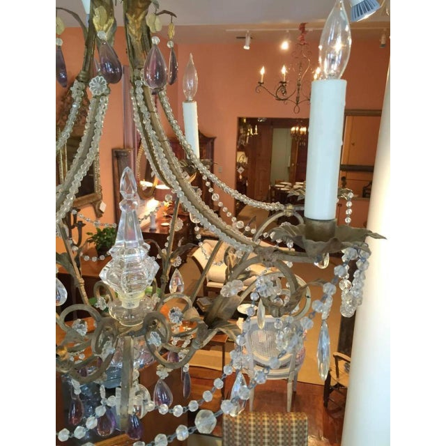 Italian 19th Century Italian Gilt Iron, Tole and Crystal Chandelier For Sale - Image 3 of 8