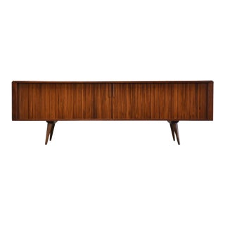 Walnut Tambour Door Record Cabinet Credenza by Barzilay For Sale