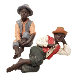 Delarue Picard Molded Composite & Hand Painted African American Boys C.1980s - a Pair For Sale