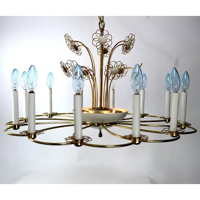Metal Floral Chandelier by Lightolier After Tynell For Sale - Image 7 of 11
