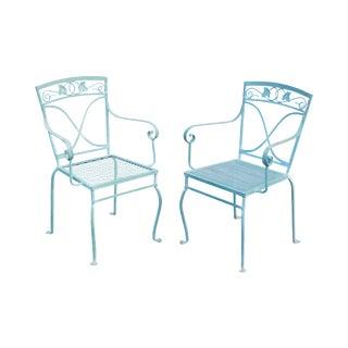 Salterini Vintage Pair Blue Wrought Iron Garden Armchairs For Sale
