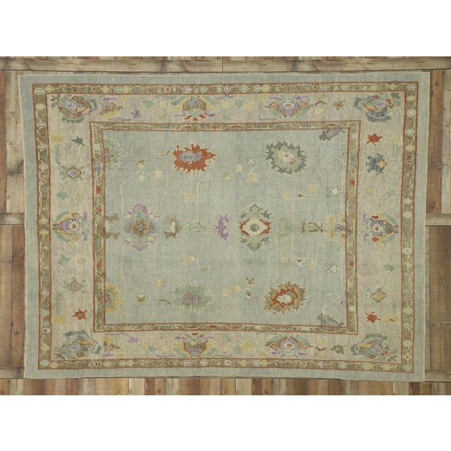 """Blue Contemporary Turkish Oushak Rug - 8'00"""" X 10'04"""" For Sale - Image 8 of 9"""