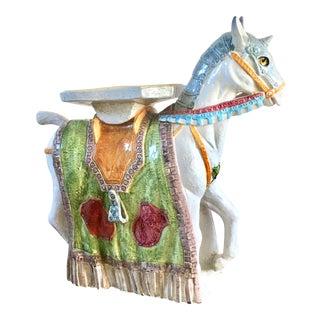 Unicorn Horse Majolica Garden Seat
