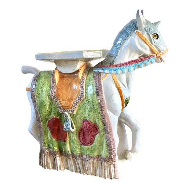 Unicorn Horse Majolica Garden Seat - Image 1 of 5
