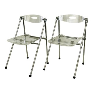 Vintage Italian Lucite Folding Chairs - a Pair For Sale
