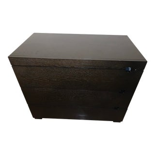 West Elm Chocolate Square Cutout 3 Drawer Dresser For Sale