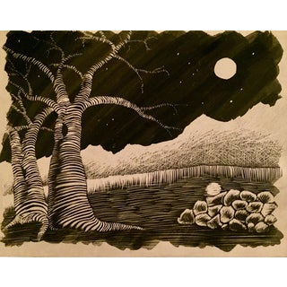 Full Moon Over Mountains Scratchboard Art For Sale