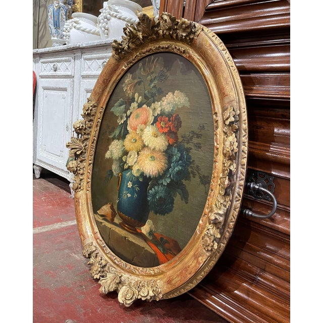 Wood 19th Century French Oval Oil on Board Floral Painting in Carved Gilt Frame For Sale - Image 7 of 12