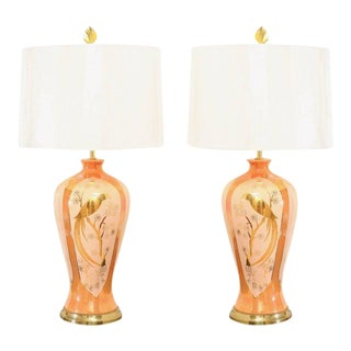 Chic Pair of Porcelain Marbro Lamps in Hermes Orange and Coral, circa 1960 For Sale