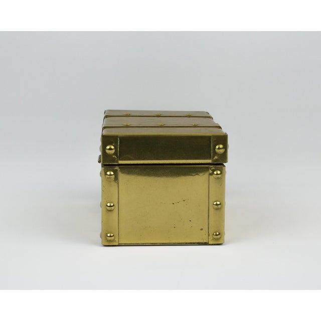 Metal Sarreid Style Miniature Tabletop Brass Trunk For Sale - Image 7 of 12