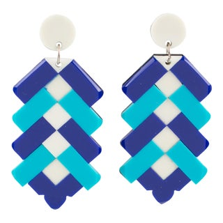 Lucite Marquetry Clip on Earrings White Cobalt Baby Blue For Sale