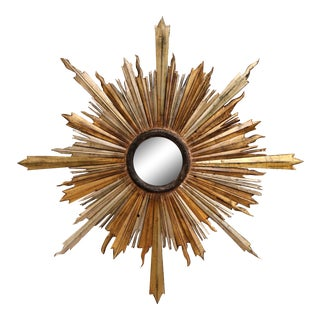 19th Century Italian Carved Giltwood and Silvered Sunburst Mirror For Sale
