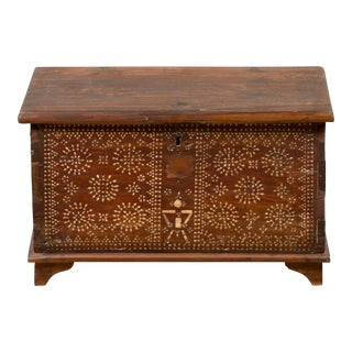 Indonesian Blanket Chest from Madura with Geometric Mother of Pearl Inlay For Sale