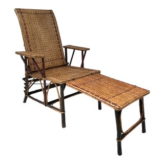Antique Wicker and Wood Lounge Chair and Ottoman For Sale