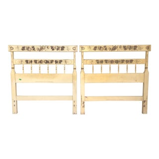 Hitchcock Stenciled and Painted Shell Motif Twin Headboards-A Pair For Sale