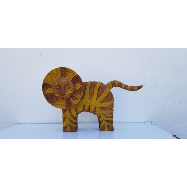 Guido Gambone Style Sun Lion Sculpture For Sale In Miami - Image 6 of 11