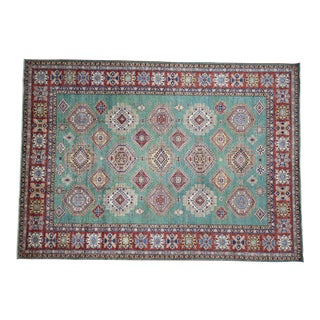 Kazak Hand-Knotted Wool Green Rug- 9′2″ × 12′9″ For Sale
